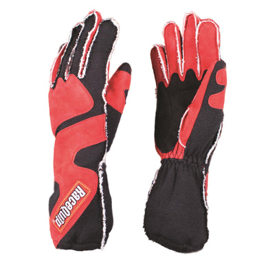RaceQuip 356 Series Race Gloves 2 Layer Nomex Outseam with Cuffs [SFI 3.3/5] - Red/Black or Gray/Black