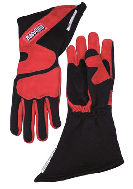 RaceQuip 358 Series Race Gloves 2 Layer Nomex Long Gauntlet- Red/Black or Gray/Black