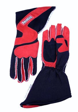 RaceQuip 359 Series Race Gloves 2 Layer Nomex Outseam [SFI 3.3/5] - Red/Black or Gray/Black