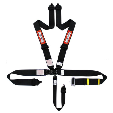 RaceQuip Ratchet Lap Small Buckle Latch & Link SFI 16.1 [5 Point Pull Down w/ Black Hardware] Harness Set - Black