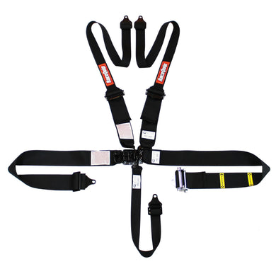 RaceQuip Latch & Link HANS/FHR SFI 16.1 [5 Point Pull Down w/ Black Hardware] Harness Set - Black
