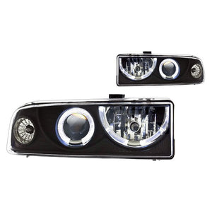 Winjet Projector Headlights Chevy S10 (1998-2004) Halo LED - Black or Chrome