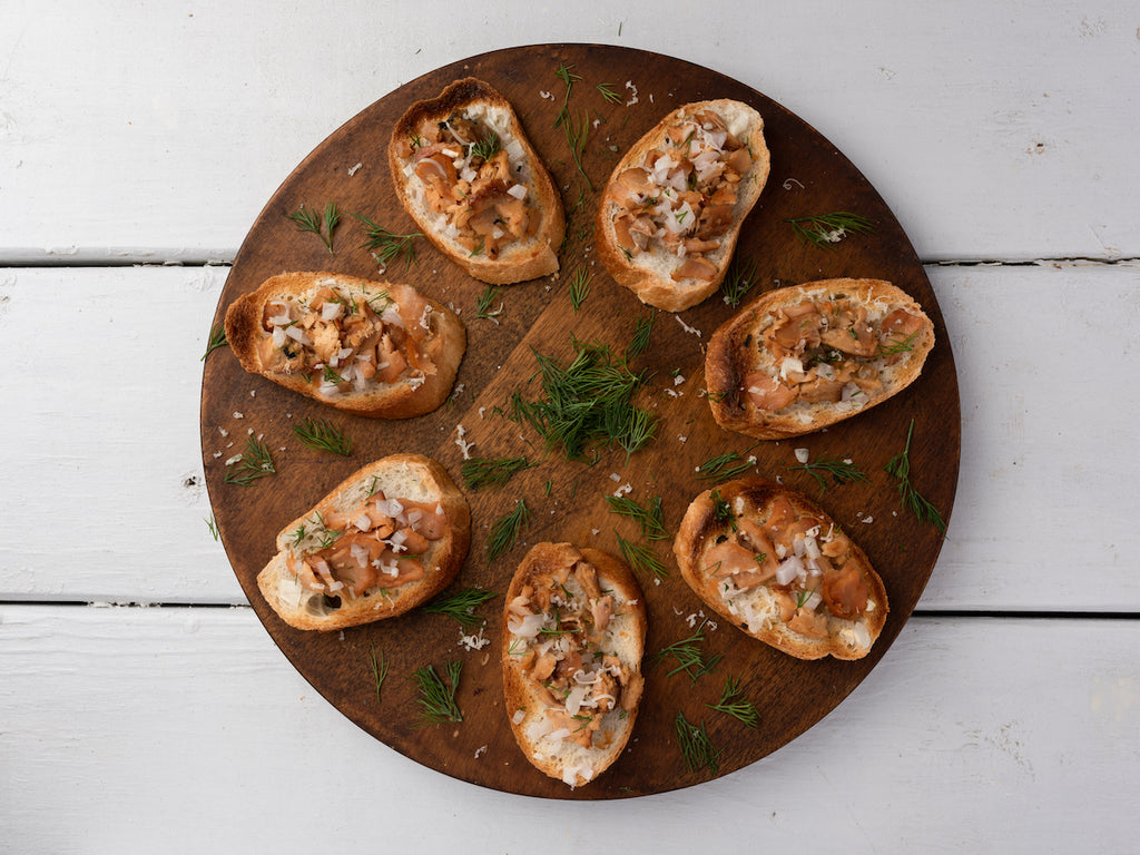 Smoked White King Salmon Bruschetta