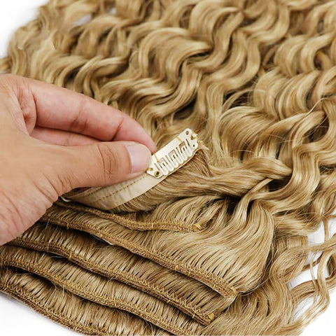 Clip in hair Curly Human Hair Extension WIGMFG