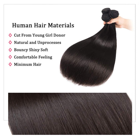 Brazilian Straight Bundles Human Hair 3 Bundles (16 18 20 inch) 10A Straight Weave Hair Bundles 100% Unprocessed Virgin Hair Extensions Natural Black