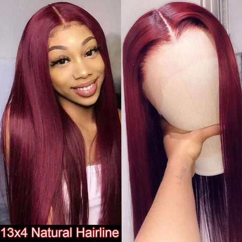 WIGMFG Burgundy Straight 13x4 Lace Front Human Hair Wig for Black Women Brazilian Remy Hair Red Human Hair Wig Pre Plucked with Baby Hair 99J Color