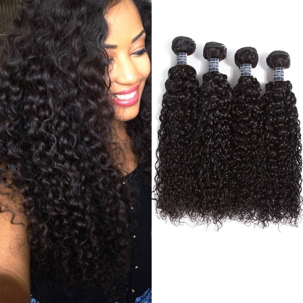 WIGMFG 8A Brazilian Curly Hair Weave 4 Bundles(14 16 18 20inch) Brazilian Virgin Kinky Curly Human Hair Weave 100% Unprocessed Hair Weft Extensions Natural Black Color