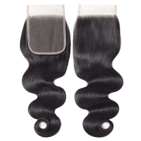 Lace Closure Human Hair Body Wave Closure 4X4 Free Part Brazilian 100% Unprocessed Human Hair Weave Swiss Lace closures Natural Black Color 12 Inch