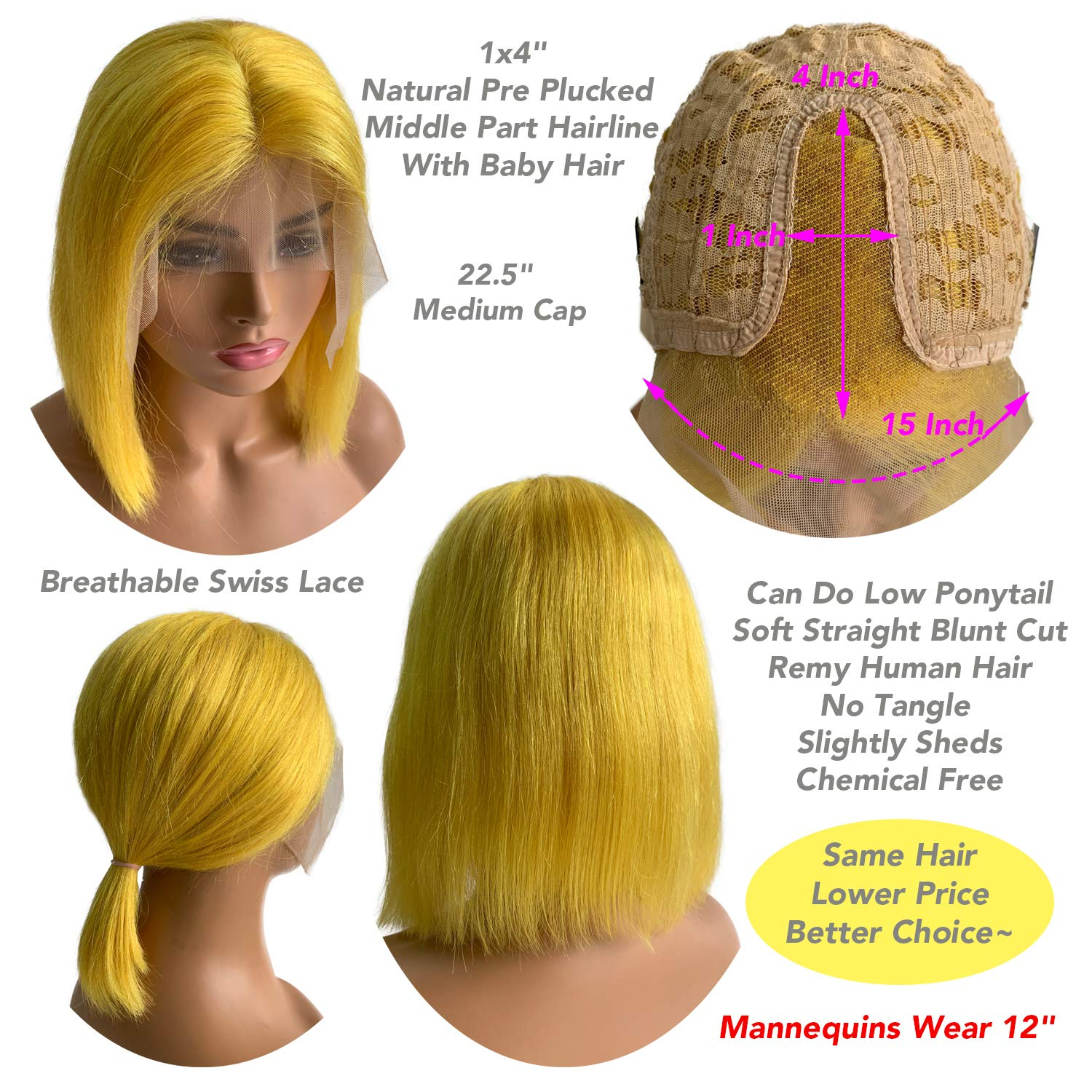 WIGMFG Yellow T Part Wig
