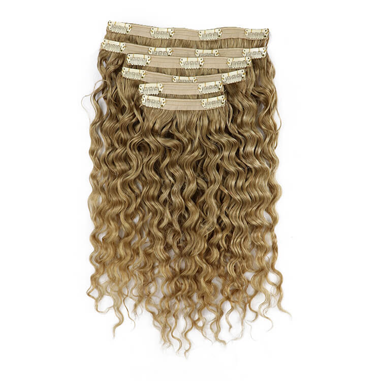 10-30inch  Remy Human Hair Clip In Hair Extensions Water Wave Golden Blonde 100 gram