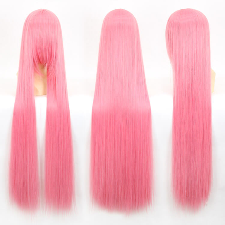 100cm 40inch Plenty Volume Hair Pro Cosplay Wigs Long Straight Pink Wig for Professional Cosplayer