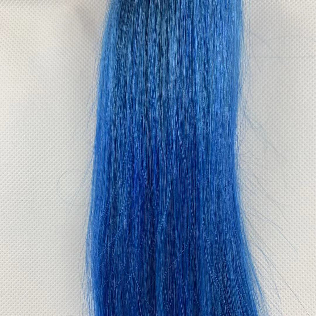One Piece Natural Remy Hair Weave Extensions Light Blue Bundles Hair Wefts