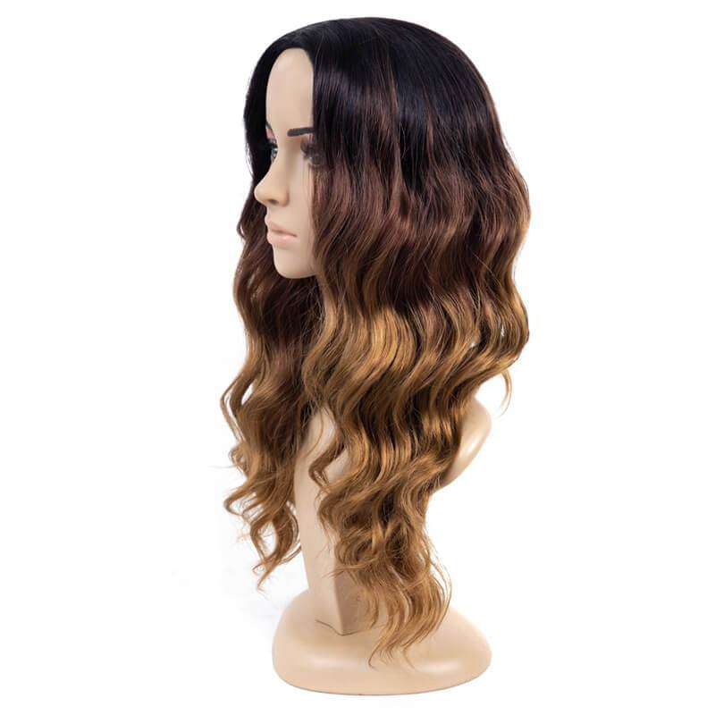 18 inch Dark Blonde Ombre Wigs Heat Resistant Fiber Synthetic Wigs For Daily Wear sushion