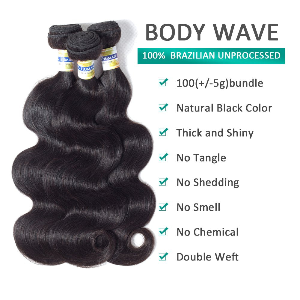 18 20 22 inch Bundles with 16 inch Closure, Brazilian Body Wave 3 Bundles with Lace Closure (4 ×4) Free Part 100% Unprocessed Virgin Human Hair Extensions Natural Color
