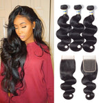 14 16 18 inch Bundles with 12 inch Closure Hair Weave for Black Woman Bundles with Lace Closure (4 ×4) Free Part 100% Unprocessed Virgin