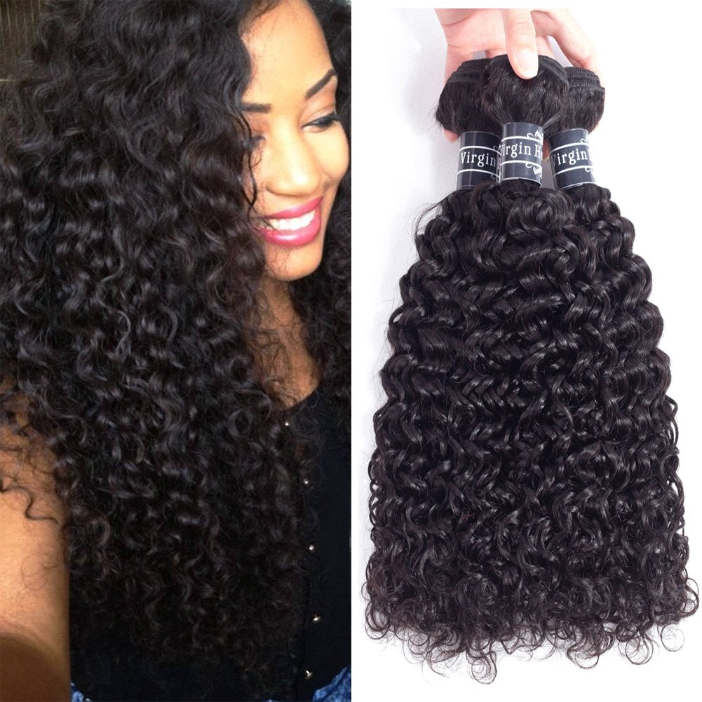 WIGMFG 8A Brazilian Curly Hair Weave 3 Bundles(14 16 18inch,285g) Brazilian Virgin Kinky Curly Human Hair Weave 100% Unprocessed Hair Weft Extensions Natural Black Color