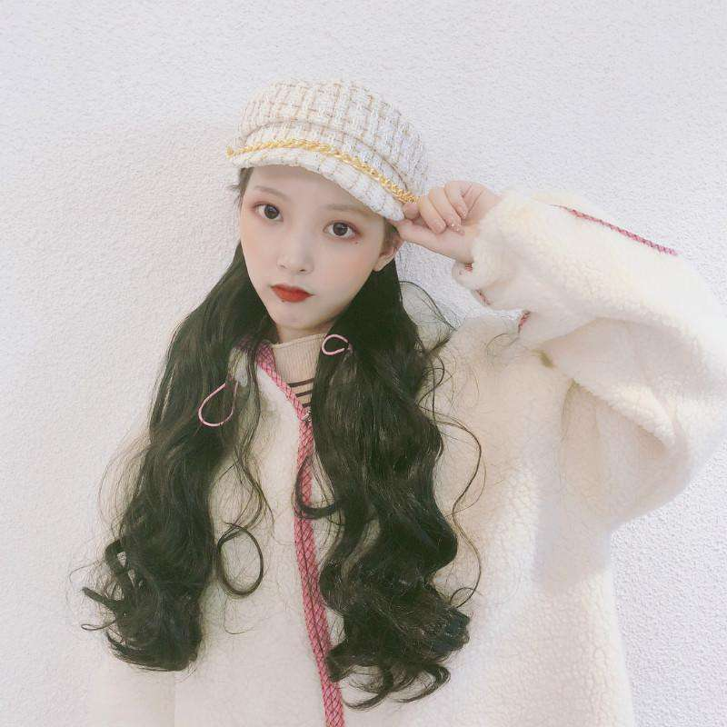Wig with Plush Hat Long wavy Wigs WigMFG