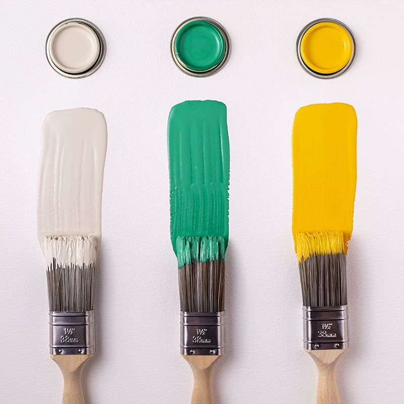 Farrow & Ball paint brushes with paint sample pot colors, available at JC Licht in Chicago, IL.