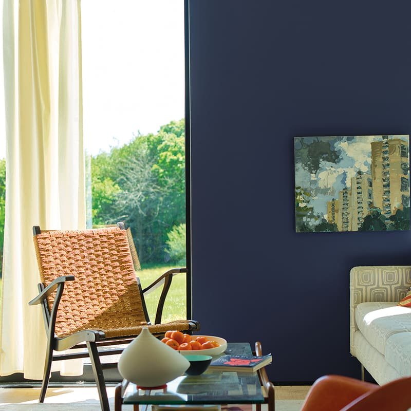 A living room painted with Farrow & Ball's Imperial Purple paint color, available at JC Licht in Chicago, IL.