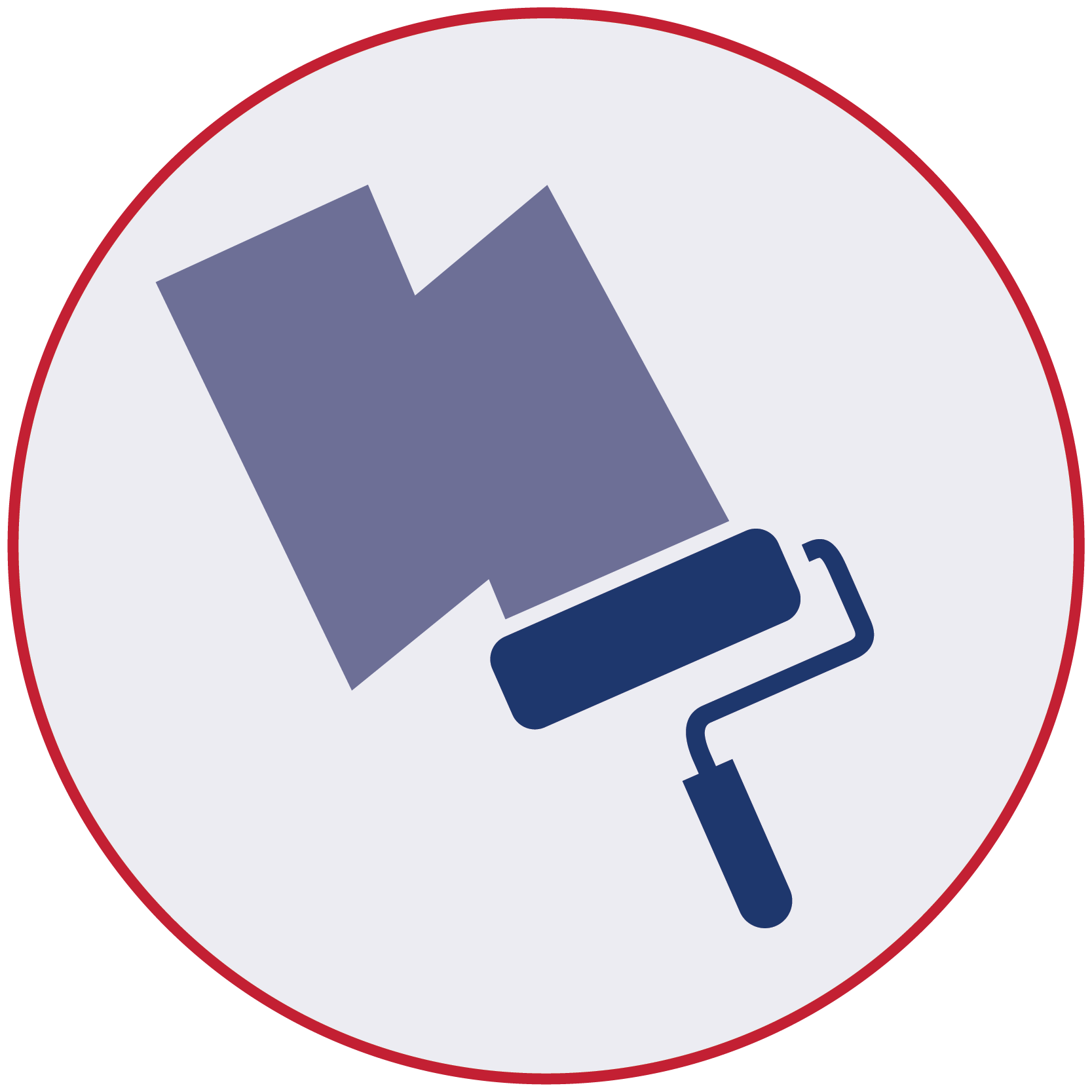 Blue icon of paint roller and primer