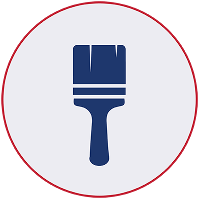 Blue icon of a paint brush
