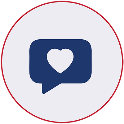 Blue icon of a speech bubble with a heart
