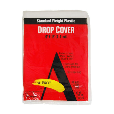 Allpro 9x12 1 mil plastic drop cloths, available at JC Licht in Chicago, IL .