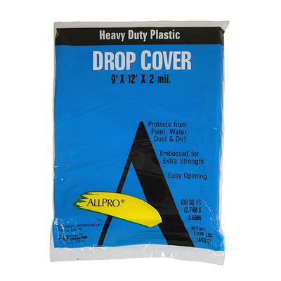 Allpro 9x12 2 mil plastic drop cloths, available at JC Licht in Chicago, IL .