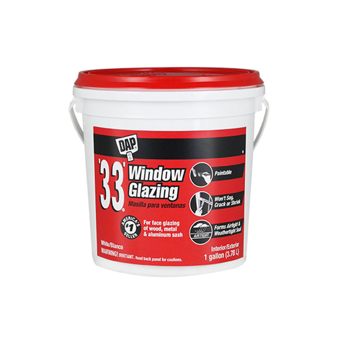 DAP '33 Window Glazing Compound, available at JC Licht in Chicago, IL.