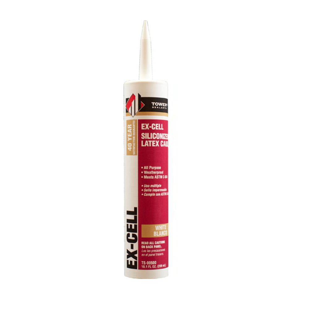Tower Ex-Cell white latex caulk, available at JC Licht in Chicago.