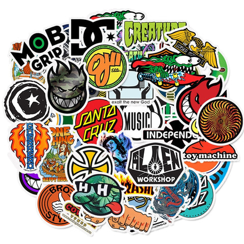 50pcs Skateboard Brand Stickers