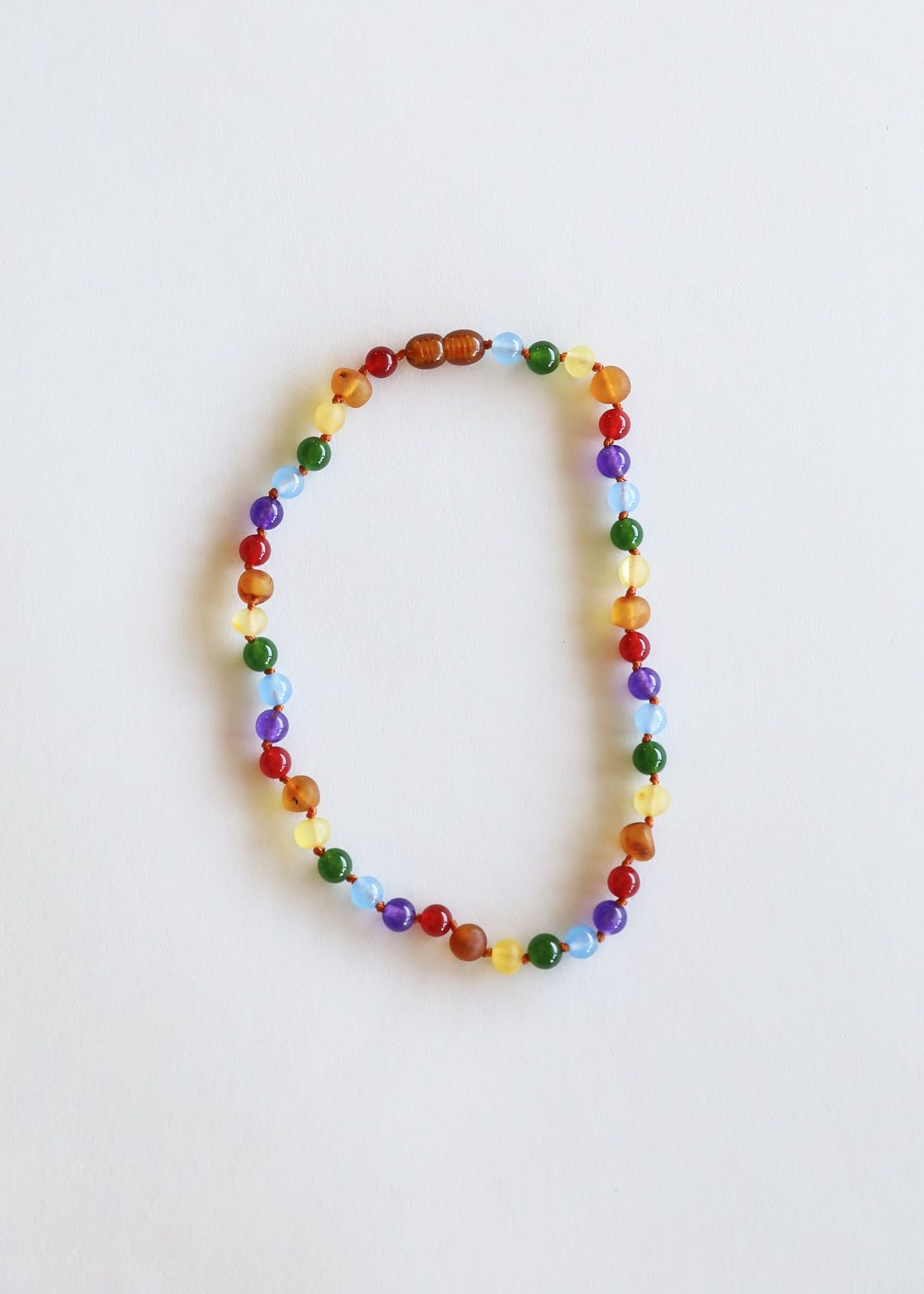 Raw Baltic Sea Amber + Gemstone Rainbow Necklace