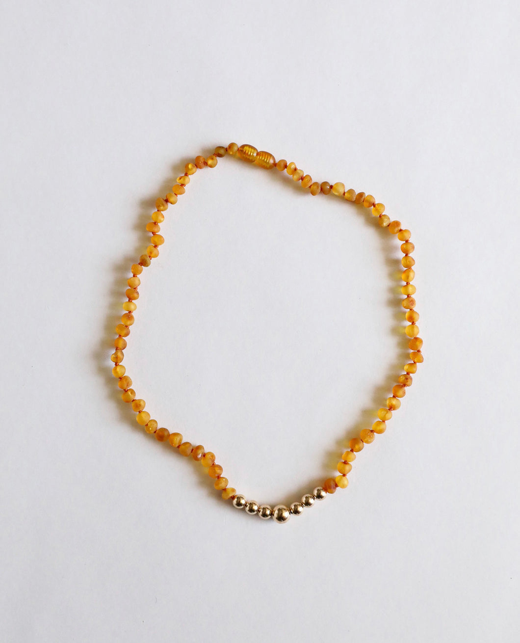 Raw Baltic Sea Honey Amber & 14K Gold Necklace 18""