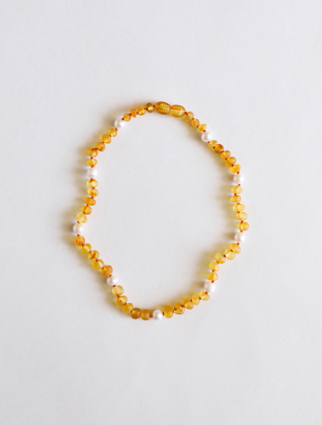 Raw Baltic Sea Honey Amber & Freshwater Pearl Halo Necklace