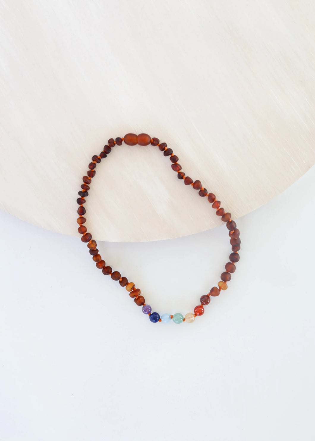 Raw Baltic Sea Amber + Chakra Crystals  Rainbow Necklace