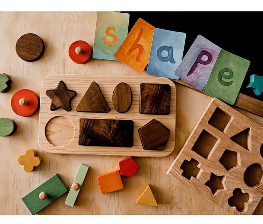 Handmade Wooden Geometric Shapes Puzzle