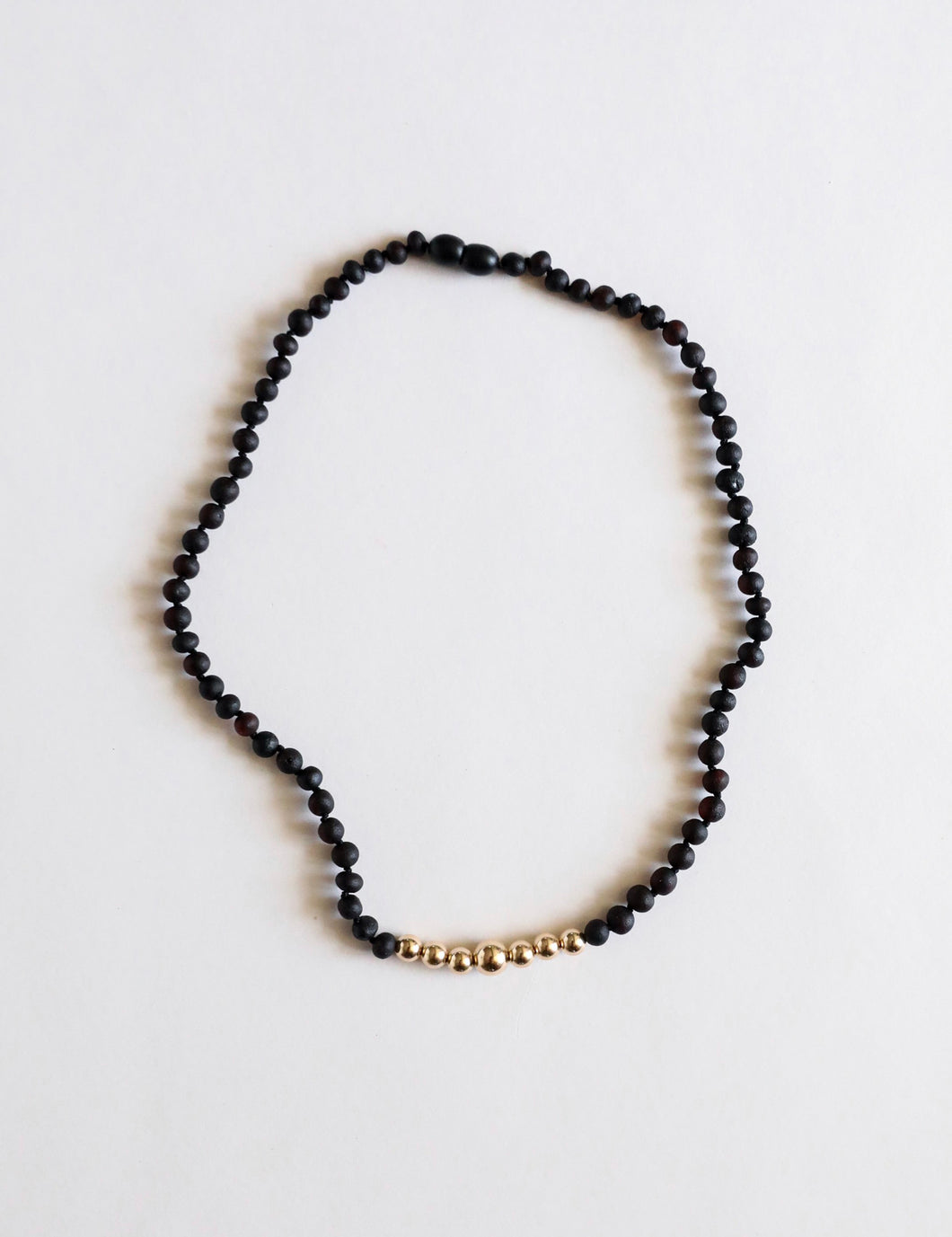 Raw Baltic Sea Black Amber & 14K Gold Necklace 18""