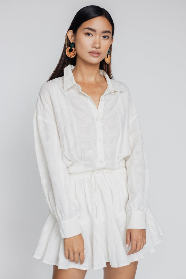Tilda Crop Button-up  - White Sand