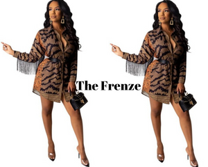 The Frenze - Mini Leo WInter Tassel & Dassel Bodycon Shirt Dress