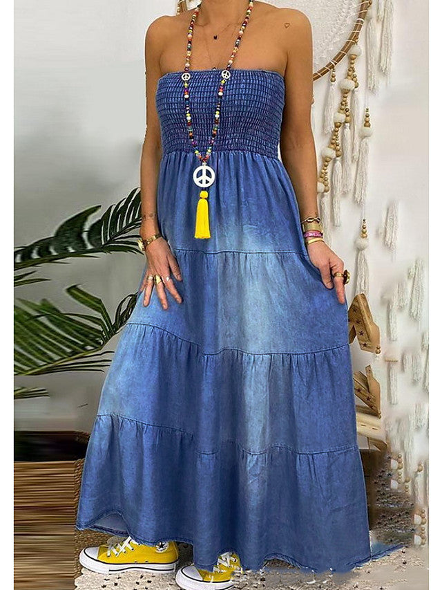 The Frenze- 2020 Denim Maxi Truffle Dress