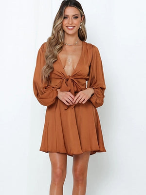 The Frenze - Low Low V Cut Ruched Mini Dress