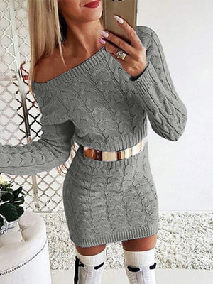 The Frenze - Off The Shoulder Mini Sweater Dress