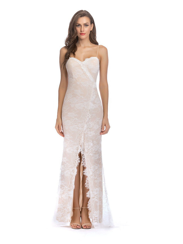 The Frenze- 2020 All White Laced Maxi Party Dress