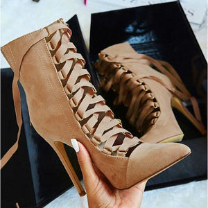 The Frenze - Stilleto Pointed Toe Strapped Boots