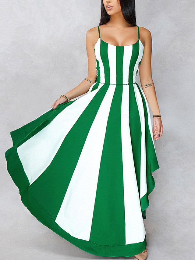 The Frenze - A Vertical Stripe Elegant Maxi Dress
