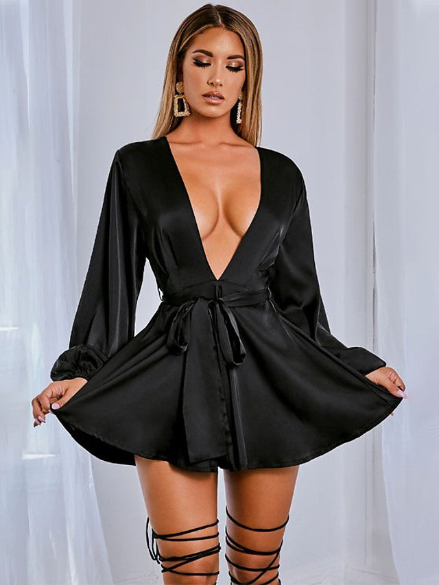 The Frenze - 2020 Fall Solid Bow Mini Dress