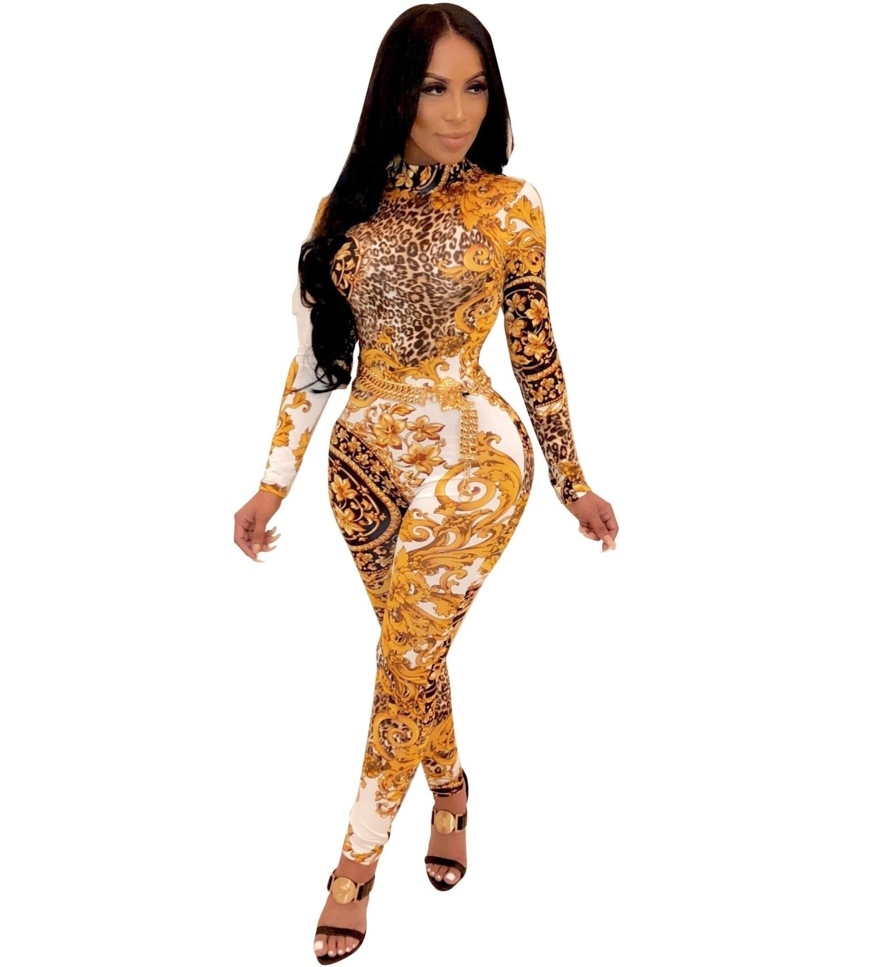 The Frenze - 2019 Gold Royal Paisley Bodycon Jumpsuit