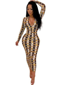 The Frenze - Paisley Print 2019 Bodycon Zipper Up Maxi Dress