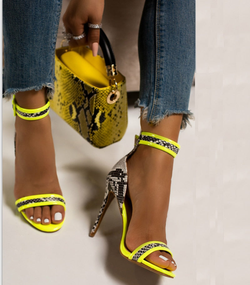 The Frenze - Snake Print Leather Yellow Pumps