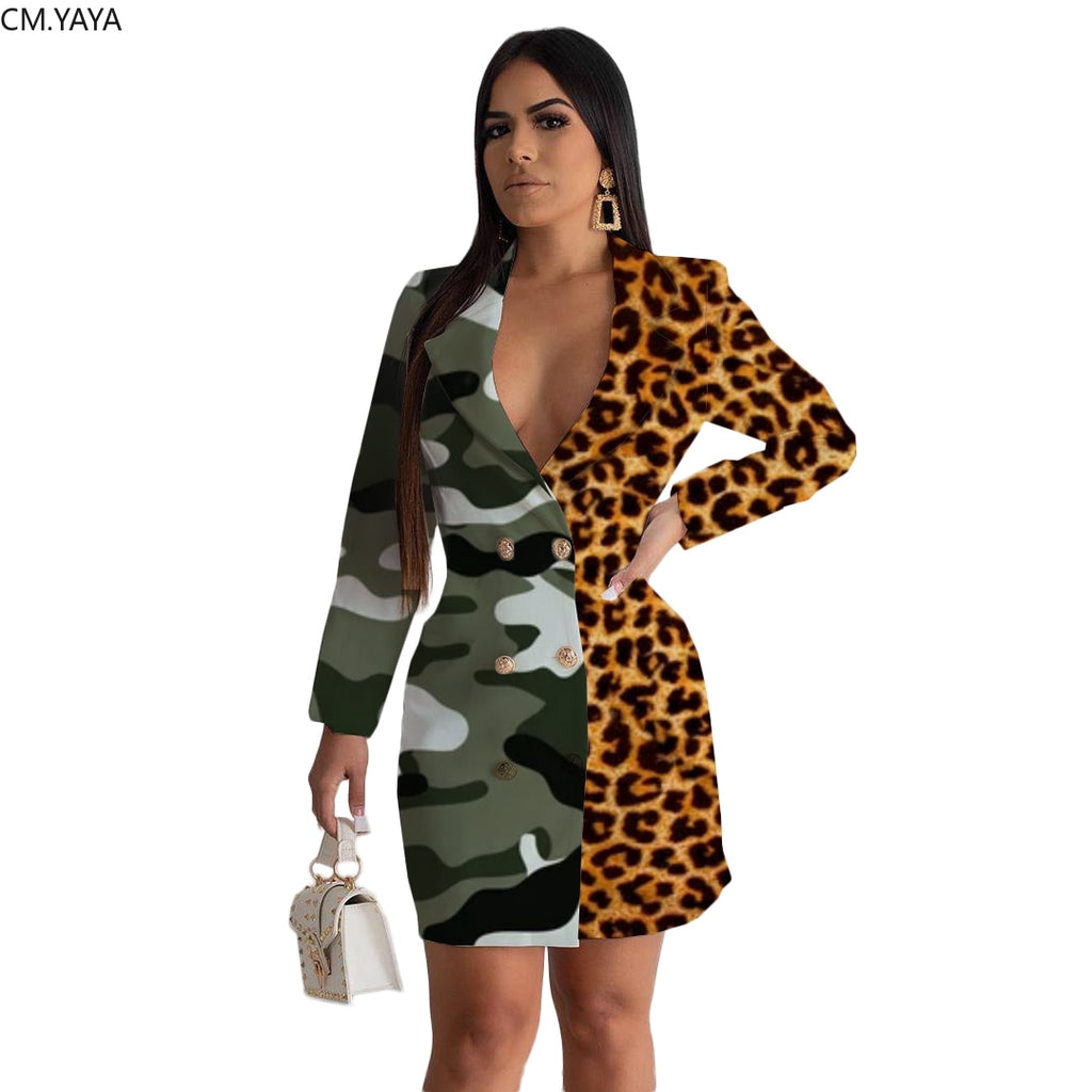 The Frenze - Camo N Leo Bodycon Blazer Dress